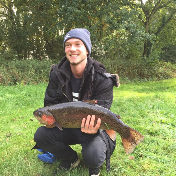 Large rainbow trout caught at Salford Trout Lakes, Oxfordshire